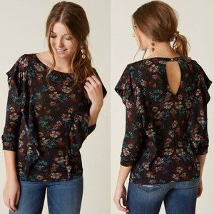 Free People Dock Street Floral Ruffle Top  #0372
